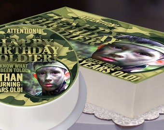 Camo Party Edible Cake Topper File, Army Party Cake Topper, Camo Birthday, Camouflage, Army Birthday, Military -  Digital Bakery File