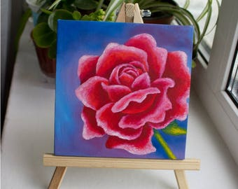 Rose miniature Painting, Mini canvas with Easel, Hand painted Flower, Flower painting, Unique Gift