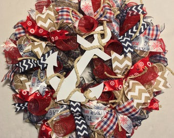 SALE summer wreath, beach wreath, wreath, Fourth of July wreath, 4th of July wreath, patriotic wreath, wreath, wreaths, nautical wreath