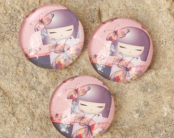 Pink cabochon glass 18 mm doll