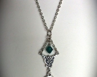 Celtic Knot Necklace, Emerald Swarovski Pendant, Claire, Bohemian Bridal Jewelry, Bridesmaid Necklace, Outlander Inspired