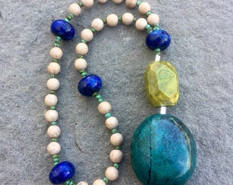 Anglican rosary/ Protestant Rosary- Jasper, lapis and yellow turquoise prayer beads with blue turquoise pendant