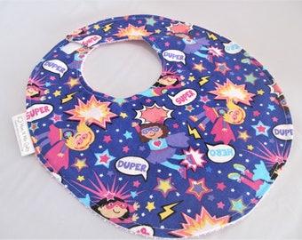 Baby Girl Bib - Toddler Girl Bib - Super Duper Heros on Purple - Designer Cotton Bib with Terry Cloth Backing