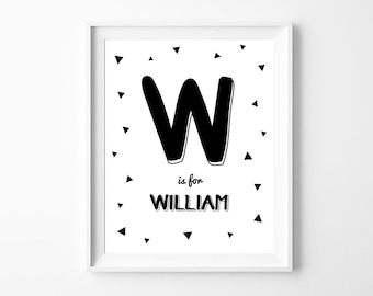 Personalized Nursery Letter and Name, Printable Wall Art Decor, Monochrome Nursery, Personalized Baby Gift, Instant Download *DIY PRINT*