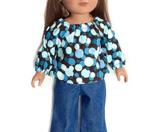 Prairie Shirt and Blue Jeans, Brown and Blue Prairie Shirt with Blue Jeans, 18 Inch Doll Clothes, Winter Doll Clothes