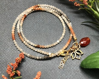 Multi-Colored Moonstone Wrap Bracelet with Carnelian Dangle and Gold Lotus Charm