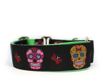 "1.5"" Sugar Skulls buckle or martingale dog collar"