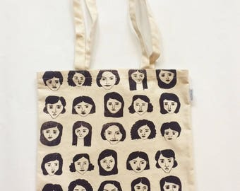 Tote Bag - Faces - Aubergine - Hand Made - Screen Printed