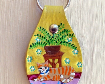 Tabby Cat leather Key Fob