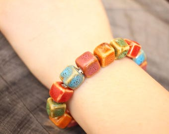 Square Ceramic Bead Bracelet