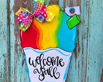 Snow Cone Door Hanger / summer door hanger / Snoball door hanger / snocone / Decoration / Outdoor Decor / summer decoration