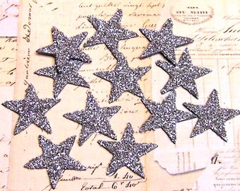 Small SILVER Stars Glass Glitter Chips 1.25 inch Set of 12