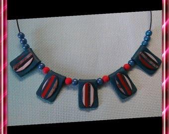 Necklace rectangular polymer beads