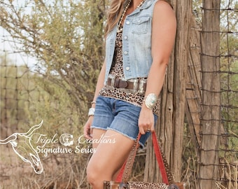 Cowhide and Leopard Leather Large Purse or Diaper Bag