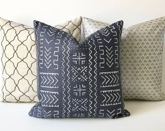 Navy blue tribal mud cloth geometric print decorative pillow cover