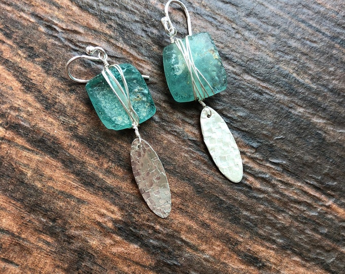 Raw Ancient Antique Roman Glass and Hammered Textured Sterling Silver Earrings Gift Unique OOAK Talisman Energy Calming