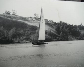 Vintage RPPC - Real Photo Postcard - Sailboat on River - Grand Haven MI