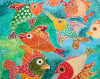 Swimming fishes abstract oil painting