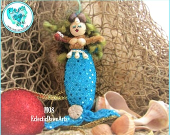 Mermaid Ornament with Sparkly Sand Dollar, MO8