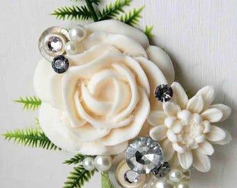 Alternative mens buttonhole, Wedding corsage, artificial flowers. Grooms boutonniere, wedding corsage