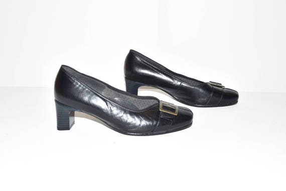 Vintage Brown All Leather CONFORT Slip On Slim Mid Heel Court Shoes Size 2/35