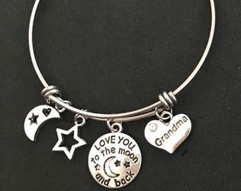 Love you to the Moon and Back Grandma Bangle Grandma Bracelet Grandma Jewelry