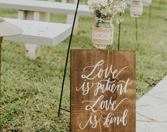 Wooden Wedding Sign, 1 Corinthians 13 Aisle Sign, Rustic Wedding Signs, Love Is Patient Love is Kind, Ceremony NP1