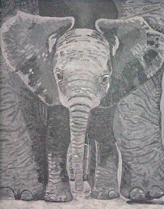 A Mother's Touch--print on canvas paper of elephant acrylic painting in grey scale