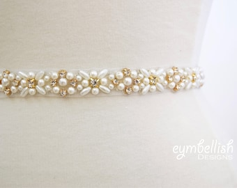 Full Length Gold Rhinestone and Pearl Bridal Belt-  All the Way Around gold belt with Clasp Closure - thin Bridal Belt - pearl Wedding Belt