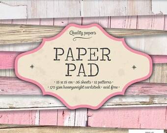 Block paper 15 x 15 - 36feuilles - 170g - wood pink PPSL40