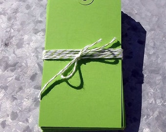 Shipping Tags Lime Green Set of 20  4 3/4 x 2 3/8 inches