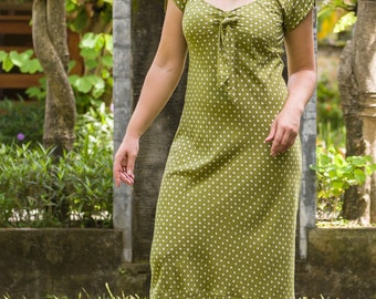Rami Dress, Bias Cut Dress, Cap Sleeve Dress, Midi Dress, Vintage Dress, Vintage Style, Retro Dress, Summer Dress, 155-128