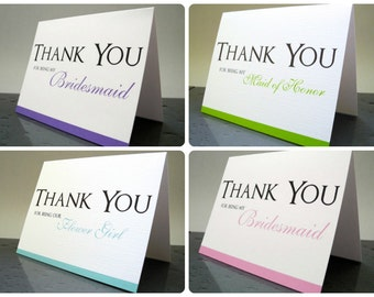 Thank You for Being My Bridesmaid, Maid of Honor, Flower Girl Bridesmaids Thank You Cards, Bridesmaid Thank You Gift Card (Set of 6)