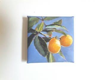 Small lemon print, print on canvas, tiny painting, small canvas, print acrylic, lemon painting, fruit print, gift for her, glicee, 4x4 art