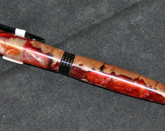 Handmade Jarra Wood and Red Acrylic Trimline Style Pen 17-038
