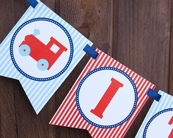 Train Baby Shower Banner - It's A Boy Banner - Toy Train Banner in Red, Blue & Aqua - INSTANT DOWNLOAD
