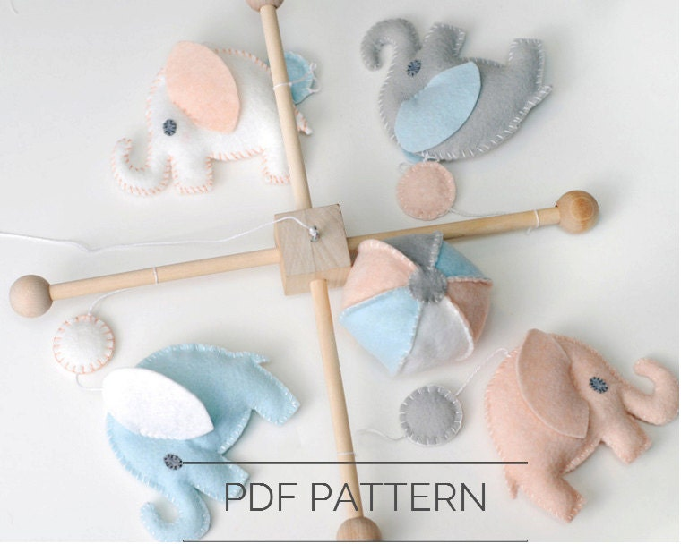 DIY Baby Elephant Mobile Felt Pattern Nursery Decor Sewing