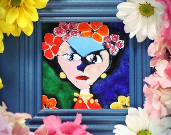 Handmade Enameled Painting Frida Kahlo Mexican Painter Blue White Yellow Pink Red Orange Color Colorful Enamel on The Copper Flowers