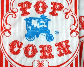 Vintage Style Wagon Popcorn Bags - Red and White Stripes - Gusseted 3 1/2 x 2 1/4 x 7 3/4 Inches - set of 125
