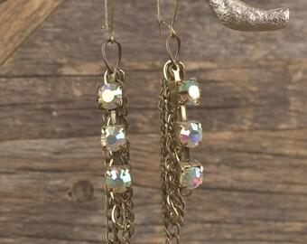 Iridescent Rhinestone & Chain Earrings