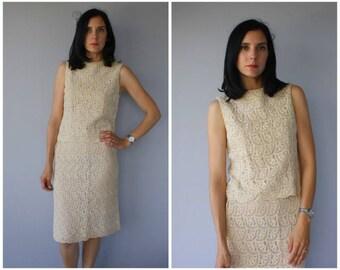Vintage 1960s Crochet Skirt Set | 1970s Dress | 70s Dress | 1970s Crochet Dress | 60s Crop Top and Skirt - (small/med)