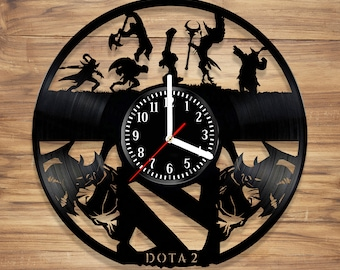 Dota 2 Vinyl Wall Clock DotA Video Game Battle Arena Defense of the Ancients  Perfect Decorate Home UNIQUE GIFT idea for Him Her (12 inches)
