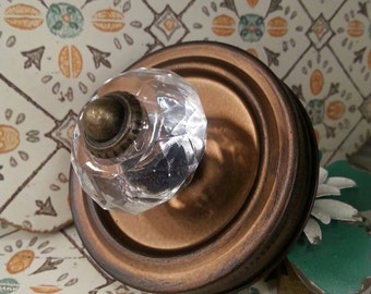 Shabby chic metal regular mouth canning jar lid with crystal knob