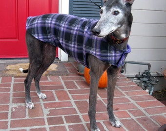 Greyhound Dog Coat, XL Dog Jacket, Purple, Black, Gray and White Plaid Fleece with Purple Fleece Lining