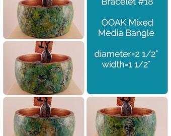 OOAK Art Bracelet #18 - Mixed Media Bangle