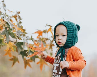 Ribbed Crochet Hat, Pixie Bonnet, Knit Bonnet, Bonnet with Pom Pom, Toddler  Bonnet, Knit Baby Hat, Fall Hat, Winter Bonnet, Hunter Green