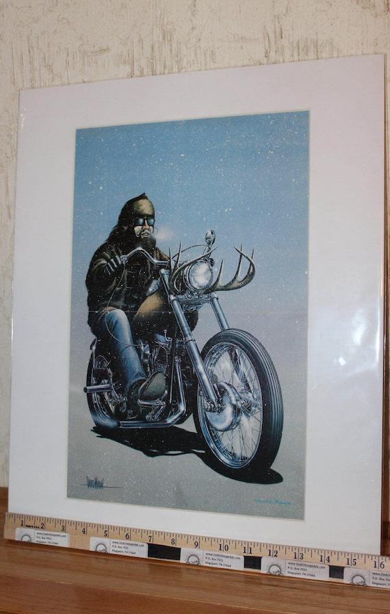 David Mann ''Here Comes Santa'' 16'' x 20'' Matted Motorcycle Biker Art #7802ezrxm