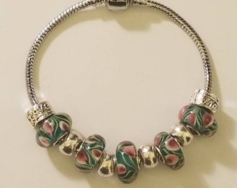 Green and Pink Charm Bracelet