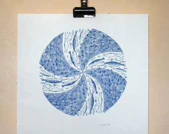Narwhala - Narwhal Sea Mandala Original Screenprint Illustration in Navy limited edition