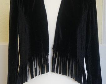 Black Fringed Velvet top/blouse/short jacket/cover up/bolero/shrug, Hippy/boho/Festival/Gothic/Grunge/Deco/Beach/Chic/Punk Jacket